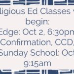 Faith Formation Classes Beginning