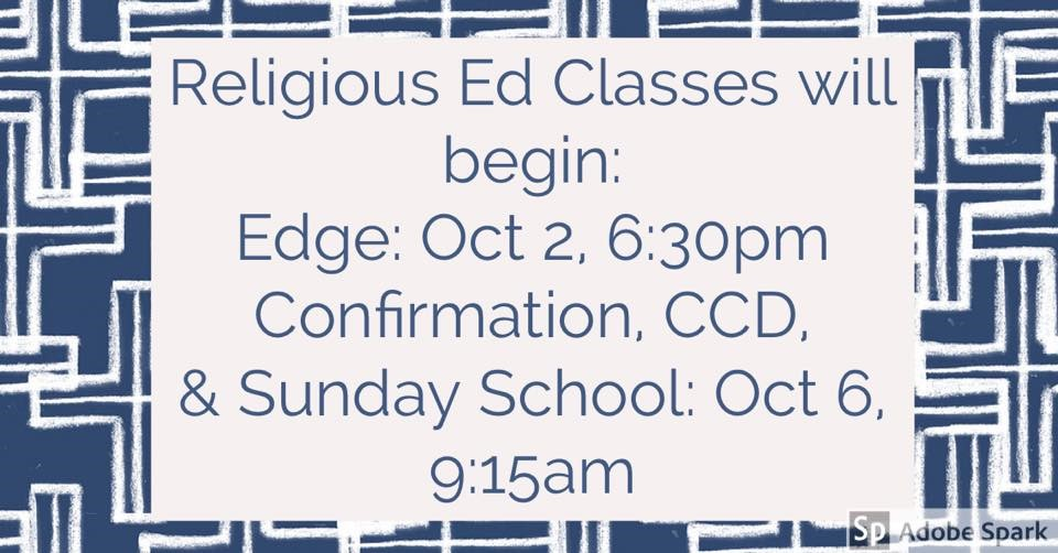 Faith Formation Classes Beginning